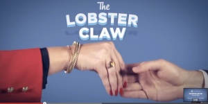 A demonstration of the Lobster Claw, one of the top 10 bad business handshakes as demonstrated in a video of the same name
